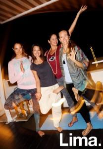 Reni Bickel, Lisa Ralston, Lara Vicich y Rae Indigo en Pop up Yoga, Hotel B, Barranco