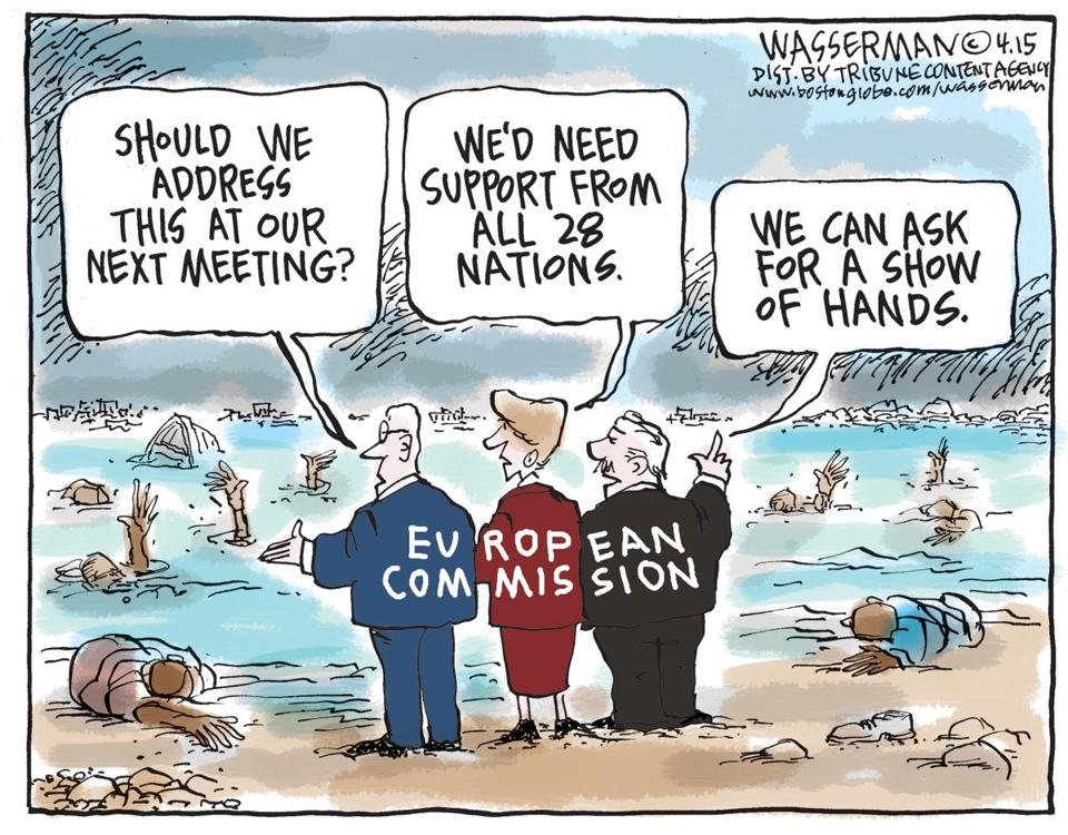 La UE decidiendo qué hace con los refugiados. Wasserman, The Boston Globe.