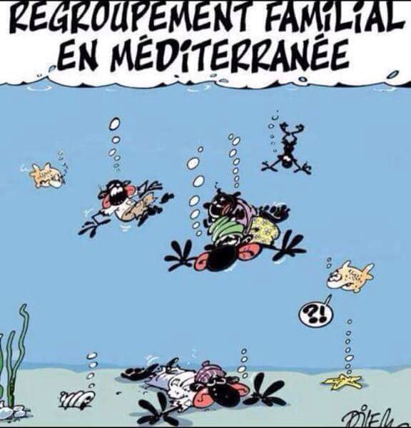 Reagrupamiento familiar en el Mediterráneo. Ali Dilem, Liberté.