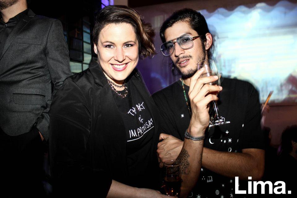 Carolinne Claux y Daniel Torres Calderón en fiesta YSL, Barranco.