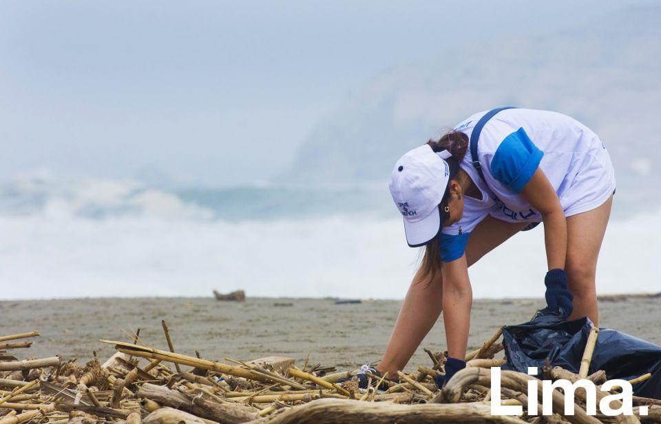 Limpiando la playa.