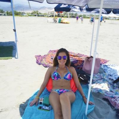 Chiara Hidalgo en Playa Blanca.