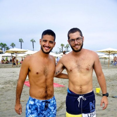 Francisco Montesinos y André Bustamante en Playa Blanca.