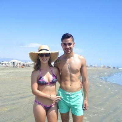 Manuela Garrido Lecca y Pablo Morcillo en Playa Blanca.
