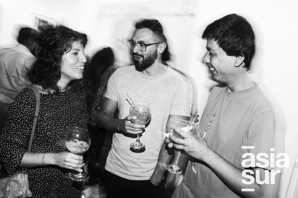 Adriana Romero, Andres Chavez-Alcorta y Jorge Salmón en la inauguración de la muestra Veduta XXI en Galería Impakto.