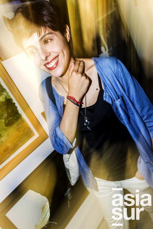 Maria Alejandra Lozano en la inauguración de la muestra Veduta XXI en Galería Impakto.