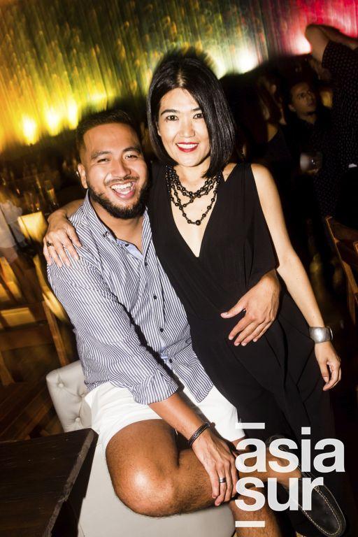 Oscar Chang y Patricia Uehara en el cumpleaños de Oscar Chang en Quincha, Costa Verde.