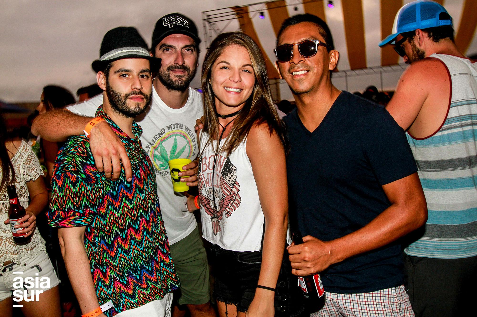 Javier Tolmos, Fefo Hanza, Pamela Vivanco y Jorge Luis Salinas en Huaka Beach Fest en Playa Asia